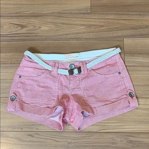 GARAGE Pink and White Striped Shorts 0 LIKE NEW
